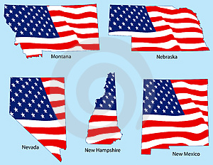 Five States With Flags Stock Image - Image: 3780781