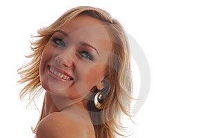 Ragazza della bionda di sorriso del ritratto Fotografia Stock