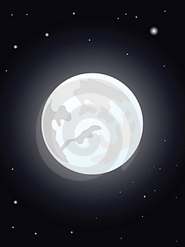 Moon night illustration Stock Photography