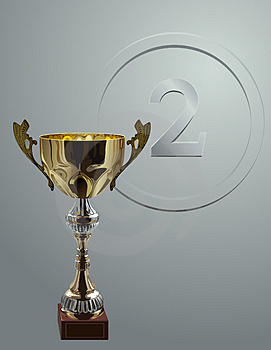 Competition Cup On Silver Background Stock Image - Image: 3818711