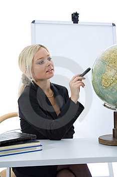 Young teacher will teach geography Royalty Free Stock Photography