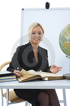 Young teacher will teach geography Royalty Free Stock Photos