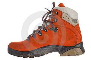 Single Red Trekking Boot From Side Stock Photos - Image: 3859973