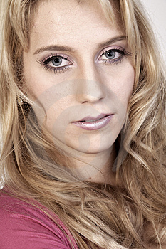 Studio Portrait Of A Long Blond Girl Looking Hurt Stock Images - Image: 3872024
