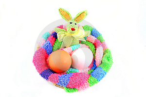 Easter Bunny And Two Eggs In A Clutch Stock Photography - Image: 3880422