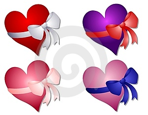 Valentine's Day Hearts Wrapped In Bows Stock Photography - Image: 3909572