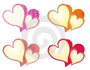 Colorful Textured Valentine Hearts Clip Art Royalty Free Stock Images - Image: 3909859