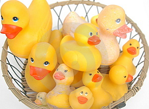 Basket Of Old And New Rubber Ducks Royalty Free Stock Images - Image: 3930479