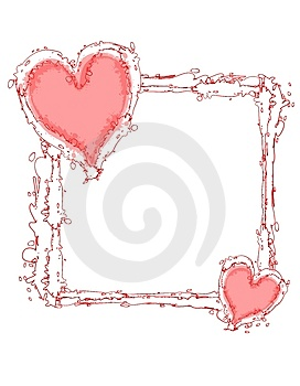 Doodle Ink Pink Hearts Frame Or Border Royalty Free Stock Photo - Image: 3934635