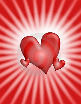Red Glowing Light Rays Hearts Background 2 Royalty Free Stock Photography - Image: 3934697