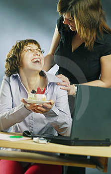 Small Enjoyment In An Office Royalty Free Stock Image - Image: 3961476