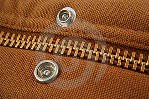 Large Gold Zipper Macro With Snaps Royalty Free Stock Images - Image: 3972009