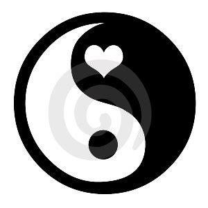 Yin Yang With Heart Fotografia Stock Libera da Diritti