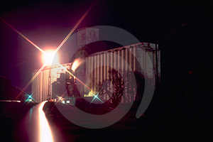 Grain Silos At Night Royalty Free Stock Images - Image: 40559