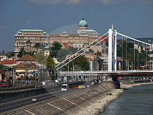 Buda Castle And Elizabet Bridge, Budapest, Hungary Stock Photography