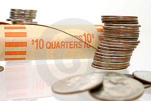 Coin Money In Stacks With Wrapper Royalty Free Stock Images - Image: 45699