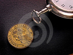 French Coin And Watch Stock Photography - Image: 407802