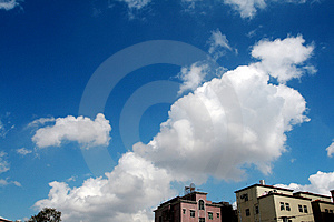 Blue sky with white clouds Free Stock Image