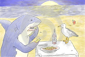 Shark Eating Stock Illustration - Image: 40046461