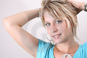 Tying Hair Royalty Free Stock Images - Image: 4013529