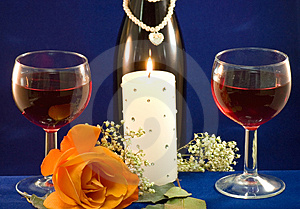 Wine candlight and rose