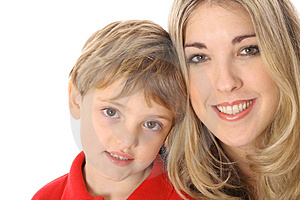 Attractive Woman And Child Headshot With Copyspace Royalty Free Stock Image - Image: 4025546