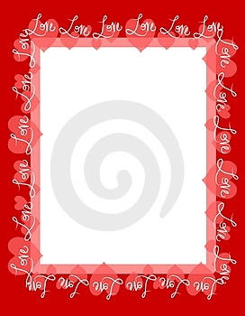Red Love Hearts Frame Border Stock Photos