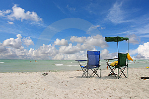 White Beach Chairs Royalty Free Stock Photos
