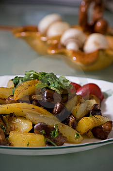 Fried Potatoes With Mushrooms Royalty Free Stock Photos - Image: 4037508