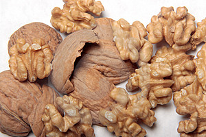 Walnuts And Shells. Stock Photos - Image: 4050523