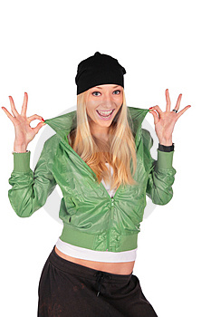 Hip-Hop Girl Gesture Ideal Stock Photo - Image: 4056840