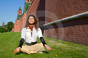 Girl Meditate Near Moscow Kremlin Royalty Free Stock Images - Image: 4065919