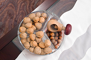 Walnuts, Hazelnuts On Table Royalty Free Stock Image - Image: 4072266