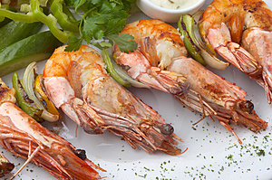 Grilled Shrimps With Vegeables Royalty Free Stock Photo - Image: 4073955