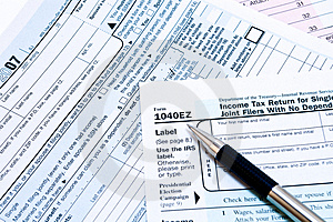 1040ez Forms Stock Photo