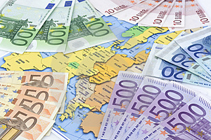 Euros At Map Royalty Free Stock Photos - Image: 4080668