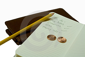 Checkbook, To Do List, Pencil And Two US Pennies Royalty Free Stock Photography - Image: 4088297