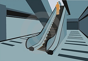 Persons On Escalator In Shop Royalty Free Stock Images - Image: 4093699