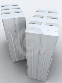 Two servers in light grey Free Stock Images