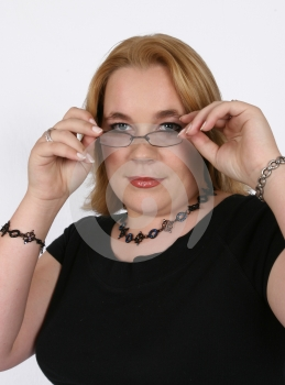 Businesswoman Holding Her Spectacles Stock Image - Image: 416231