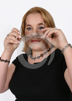 Businesswoman Holding Her Spectacles Royalty Free Stock Images - Image: 416249