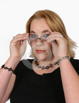 Businesswoman Holding Her Spectacles Stock Photo - Image: 416250