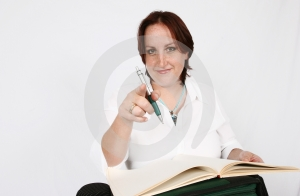 Businesswoman Pointing Royalty Free Stock Image - Image: 416796