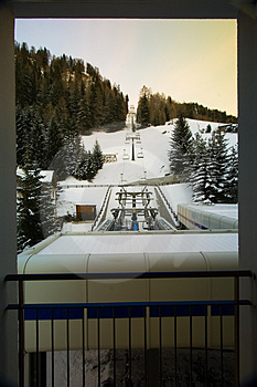Hotel Chairlift In Snow Royalty Free Stock Image - Image: 4103456