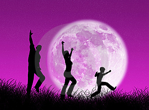 Family in the moon Royalty Free Stock Photography
