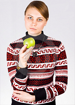 Woman Holding Apple Royalty Free Stock Images - Image: 4111999