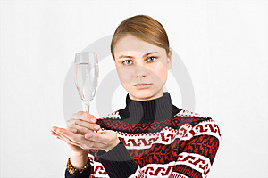 Woman With Glass Royalty Free Stock Photo - Image: 4112005