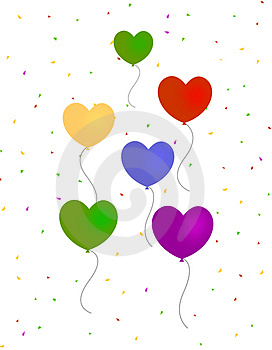 Hearts Balloons With Confetti Free Stock Photography
