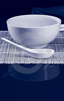Bowl And Spoon Duotone Stock Photos - Image: 4125563