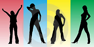 Girls Set - 1. Silhouette Stock Image - Image: 4133991